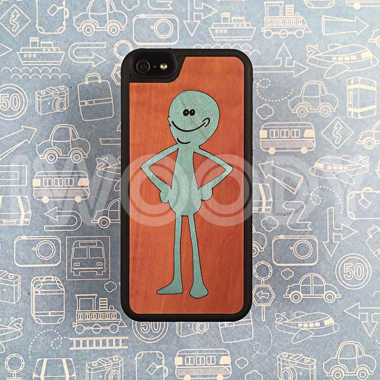 """Чехол серии """"Deep"""" на iPhone 5/5s и SE с инкрустацией человечка в натуральную грушу"""