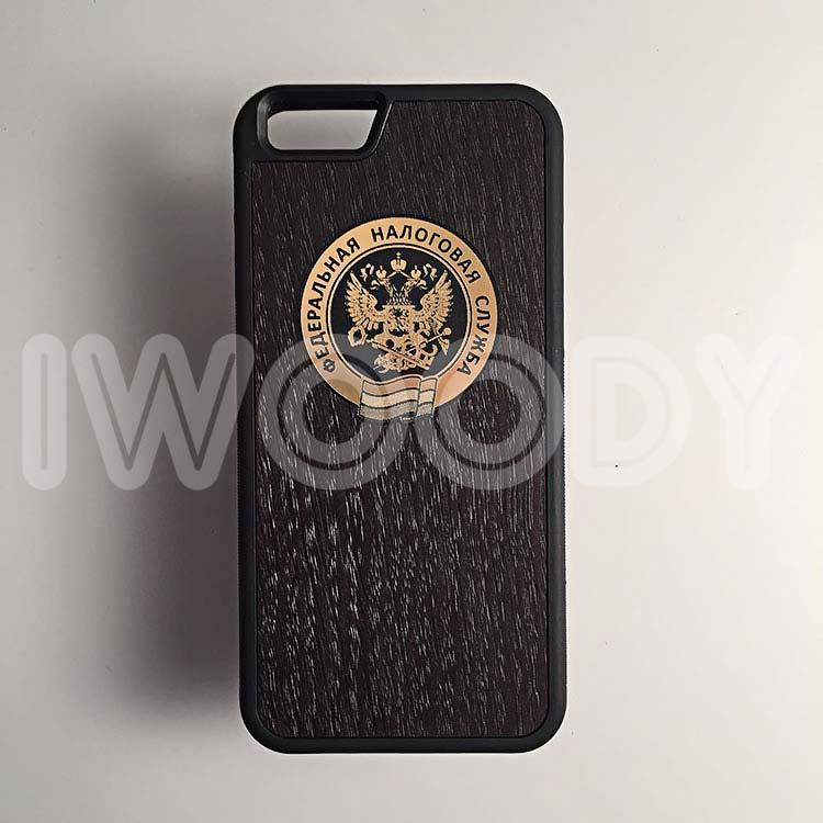 """Чехол серии """"Deep"""" на iPhone 6/6s с инкрустацией логотипа из золота в мореный дуб"""