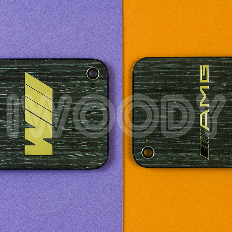 Сменные задние панели на iPhone 4/4s с инкрустацией позолоченных эмблем