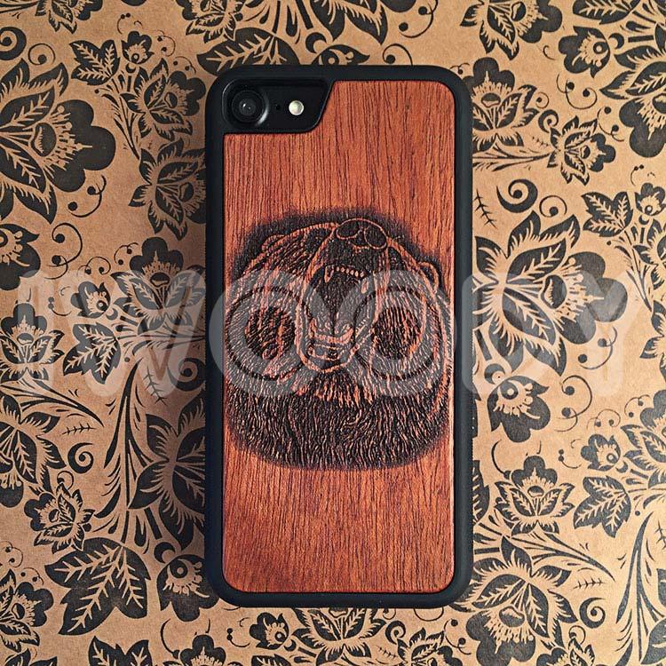 "Чехол серии ""Deep"" на iPhone 7 с гравировкой на махагоне 1.5мм"