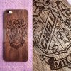 Деревянная накладка на iPhone 5/5s/SE с гравировкой на дереве орех 1.5мм
