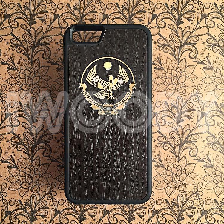 """Чехлы серии """"Deep"""" на iPhone 6/6s с инкрустацией позолоченного герба из поликарбоната в мореный дуб"""