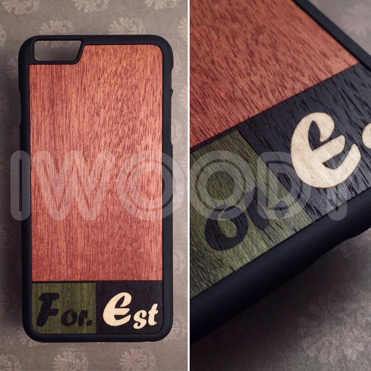 """Чехол """"Touch"""" с инкрустацией логотипа из 3х разных пород дерева"""