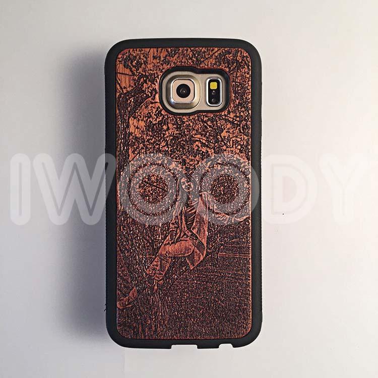 "Чехол серии ""Deep"" на Samsung Galaxy S6 Edge с гравировкой на махагоне 1.5мм"