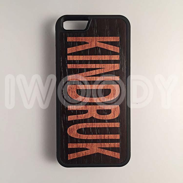 """Чехол серии """"Deep"""" на iPhone 6/6s с инкрустацией фамилии из дерева макоре в мореный дуб"""