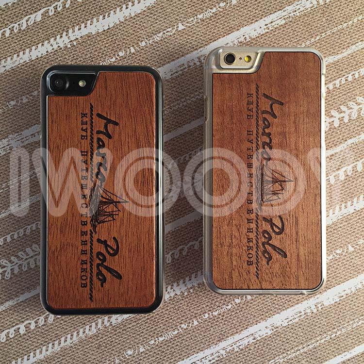 "Чехлы серии ""Soft"" на iPhone 6/6s и 7 с гравировкой на махагоне 1.5мм и макоре"