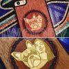 Чехол с гравировкой и инкрустацией из разных пород дерева