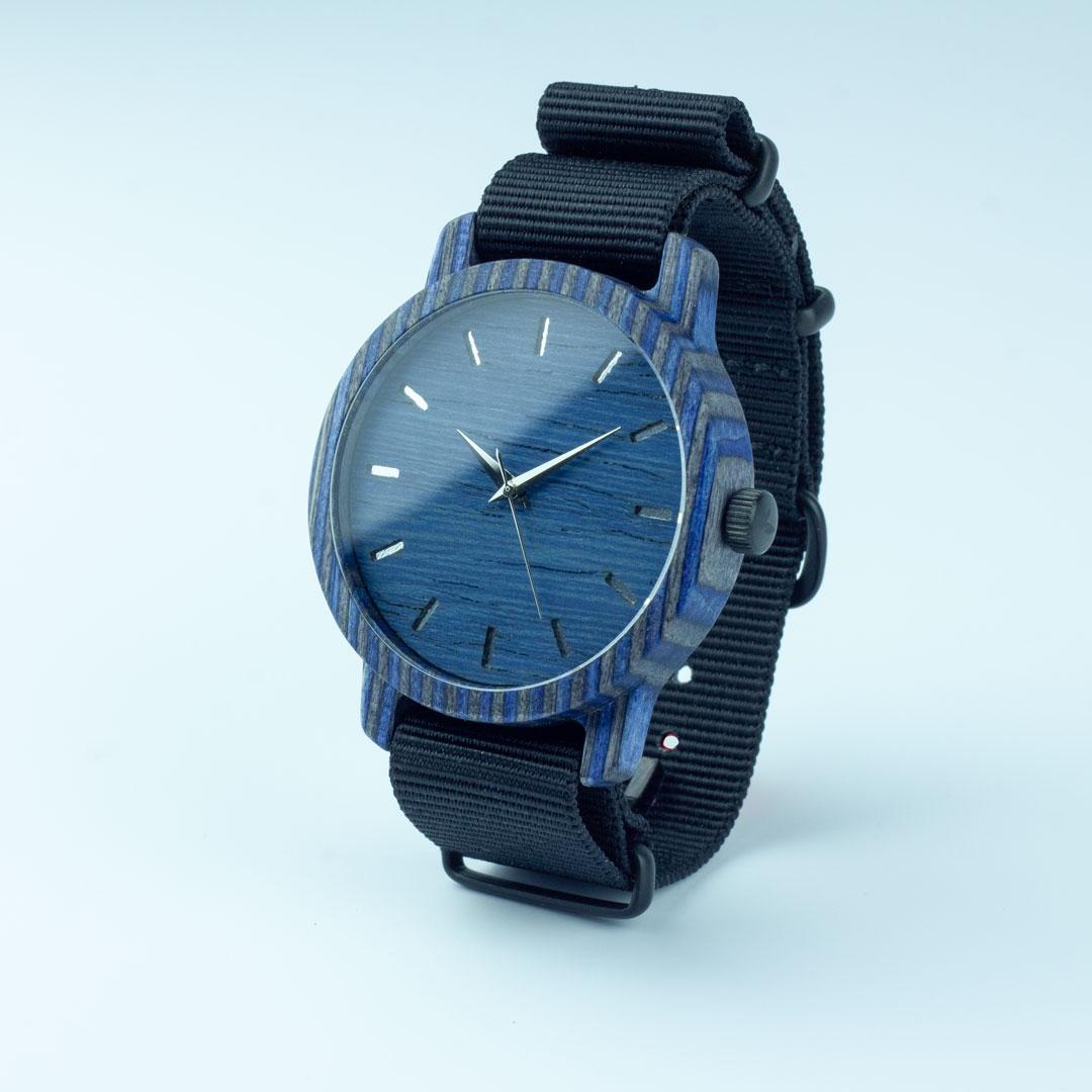 """Деревянные часы """"Norton   Classic"""" c черным нейлоновым ремешком"""