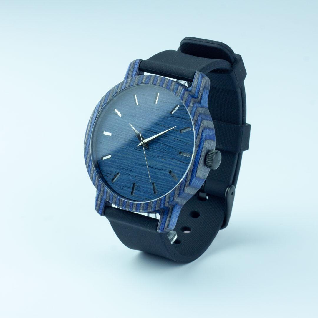 """Деревянные часы """"Norton   Classic"""" c черным силиконовым ремешком"""
