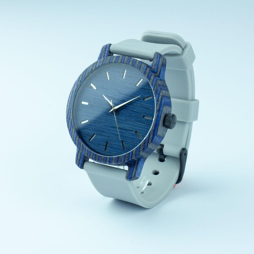 """Деревянные часы """"Norton   Classic"""" c серым силиконовым ремешком"""