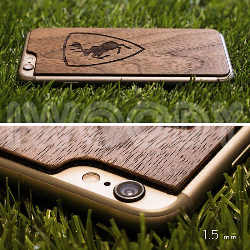Деревянная накладка на iPhone 6/6s с гравировкой на дереве орех 1.5мм