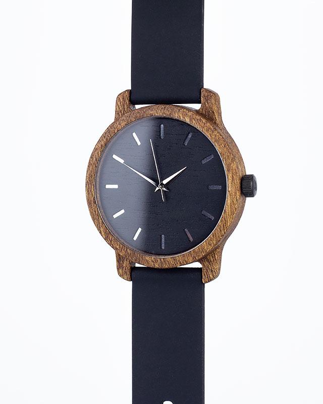 Деревянные наручные часы, дерево сапеле | Черный силиконовый ремень