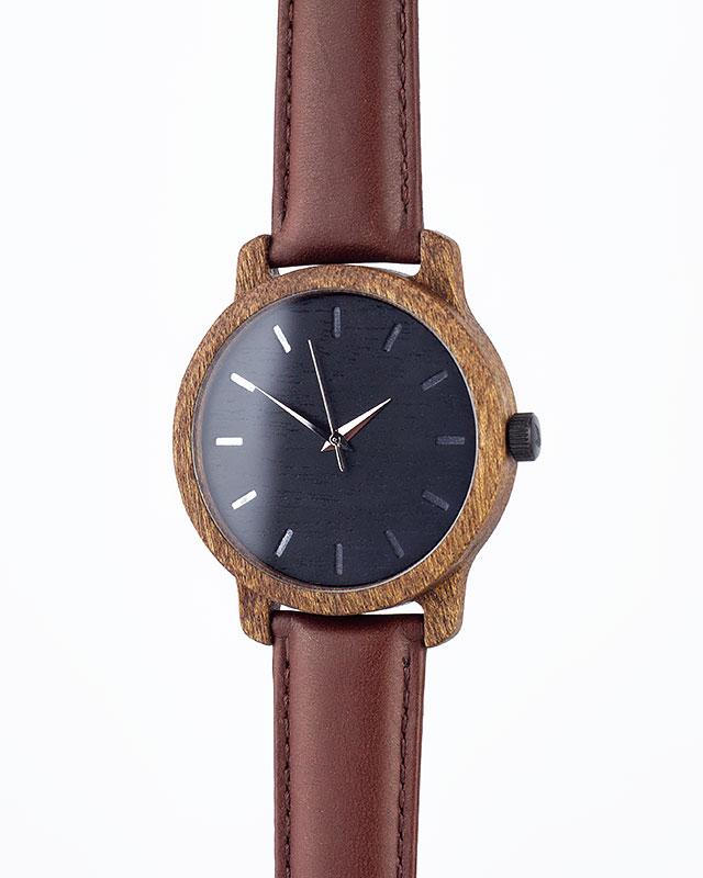 Деревянные наручные часы, дерево сапеле | Коричневый кожаный ремень