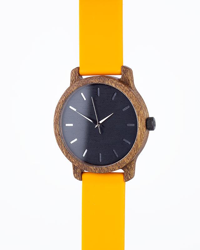 Деревянные наручные часы, дерево сапеле | Оранжевый силиконовый ремень