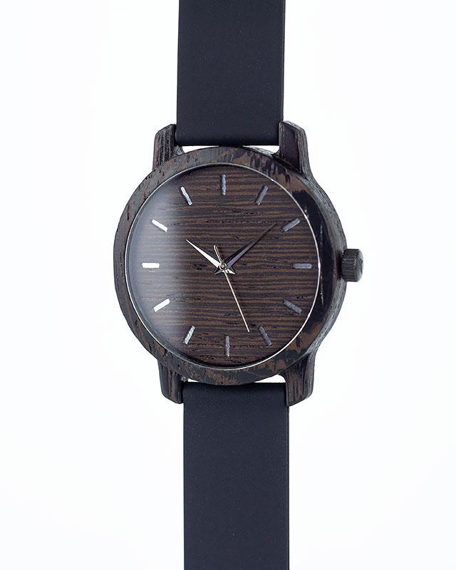 Деревянные наручные часы, дерево - венге | Черный силиконовый ремень