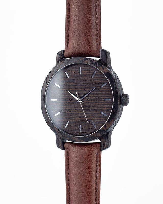 Деревянные наручные часы, дерево - венге | Коричневый кожаный ремень