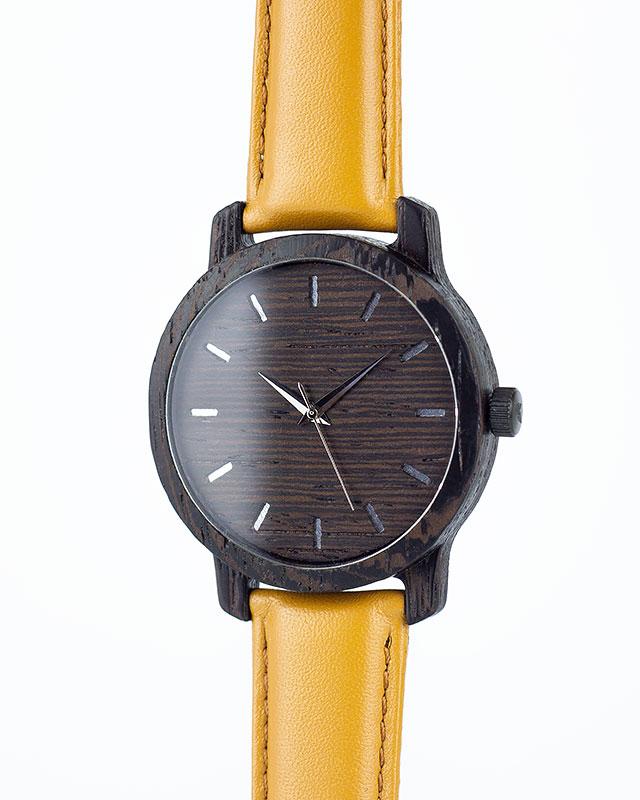 Деревянные наручные часы, дерево - венге | Песочный кожаный ремень