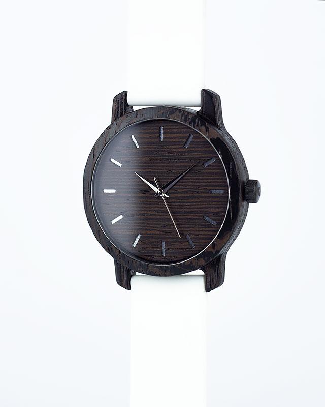 Деревянные наручные часы, дерево - венге | Белый силиконовый ремень
