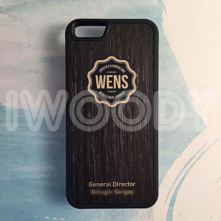 """Чехол серии """"Deep"""" на iPhone 6/6s с инкрустацией позолоченного логотипа в мореный дуб"""