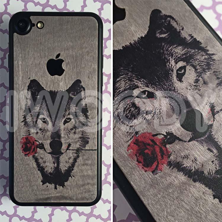 Деревянная накладка на iPhone 7 c цветной печатью волка на клене сикамора