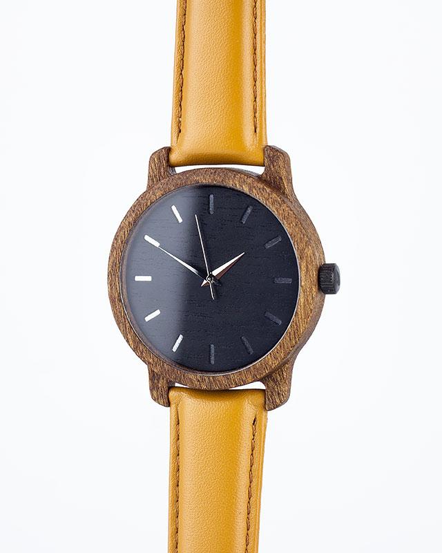 Деревянные наручные часы, дерево сапеле | Песочный кожаный ремень